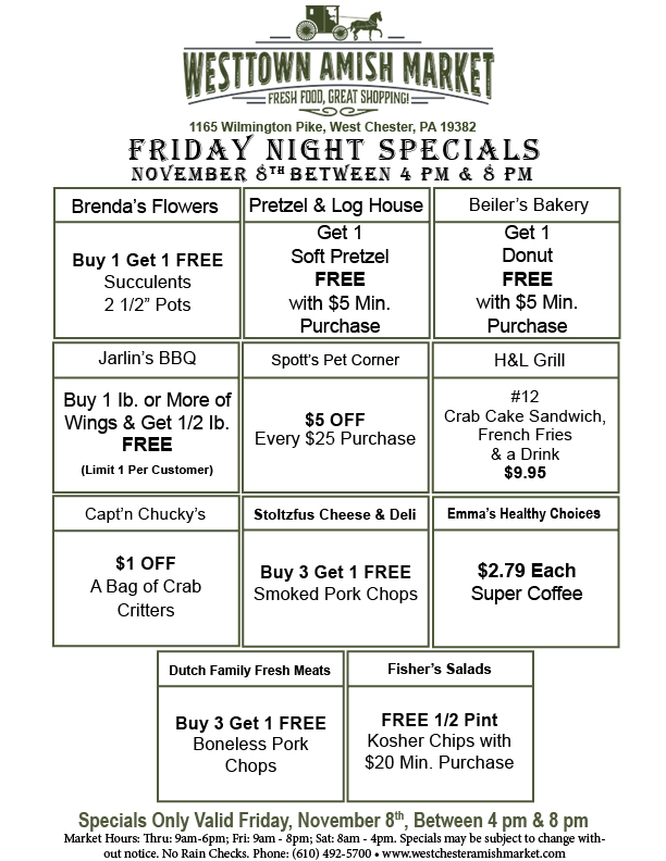 Friday Night Specials Nov 7th